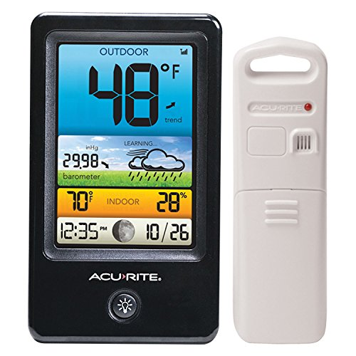 AcuRite 00509 Color Weather Station with Count Temperature/Humidity/Forecast,Black and White