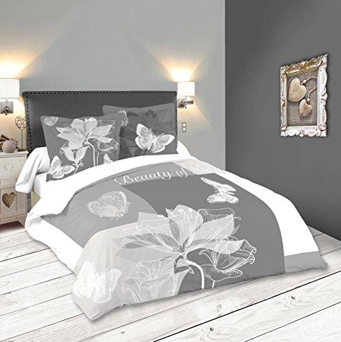 Lovely Casa Lupin Housse DE Couette 240X220 CM + 2 TAIES 63X63 CM, Coton, Gris