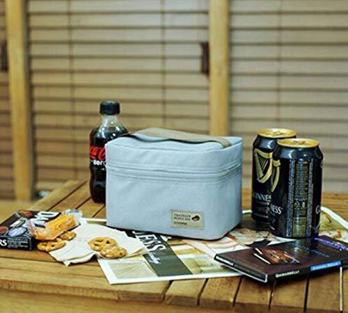 Viner Sac Isotherme Étanche Nylon Pratique Petits Sacs à glaçons Portables Thermos Boîte à Pique-Nique Paquet Bento Box Sac Thermique Alimentaire, Gris