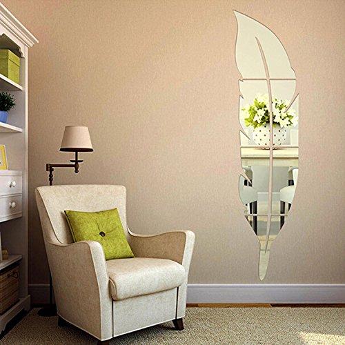 Soledi 3D Specchio Adesivo Moderno a Forma di Piuma Fai da Te Removibile Decorazione di Casa