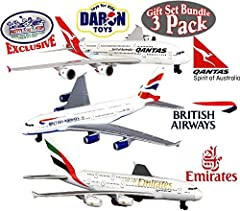 Matty's Toy Stop's Exclusive Gift Set Bundle Includes Daron Emirates A380, Qantas A380 & British Airways A380 Die-cast Planes! Planes are officially licensed by the airlines! Models are 5 1/2 inches long with 5 inch wingspan. These awesome toys can b...