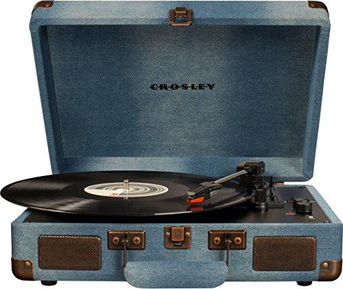 Crosley Cruiser Deluxe Tragbarer Plattenspieler mit Drei Geschwindigkeiten mit Bluetooth - Denim