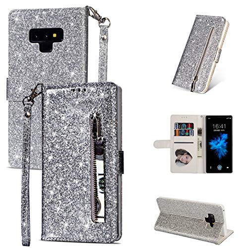 DingSORA Bling Glitter Funda para Samsung Galaxy S21 Ultra S20 S10E S9 S8 Plus S7 Note 20 9 10 Tapa de la Billetera con Cremallera del Soporte de Cuero Coque (Color : Silver, Tamaño : S9)