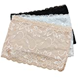 LUOEM 3pcs Women's Floral Lace Tube Top Stretchy Strapless Non-Padded Bandeau, Black, White, Skin, X-Large
