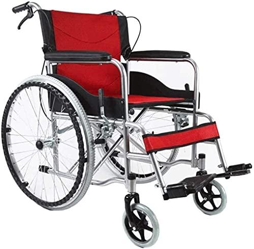 Silla de Ruedas autopropulsada de Doble Freno, aleación de Aluminio Plegable Asiento Suave Anciano discapacitado Mano Pusher Walker Brazos (Color : Rojo)