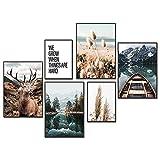 YLXQJIN Premium Poster Set Natur | Moderne Poster Set |