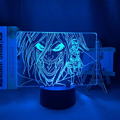 Lámpara acrílica 3D ataque a Titan Levi Ackerman para el hogar, el dormitorio o la decoración de los niños, ataque a titanio LED luz nocturna anime 7 colores sin mando a distancia