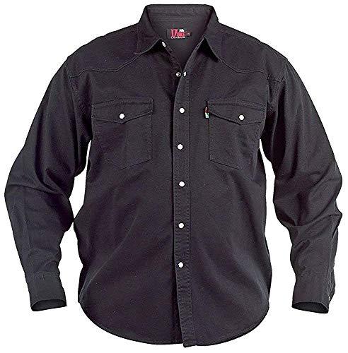Duke London Chemise pour Hommes Western Noir Chemise Manches Longues King Taille - Noir, Noir, XXL