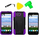 Heavy Duty Hybrid Cover Case Phone Accessory + Screen Protector + Extreme Band + Stylus Pen + Pry Tool For ZTE Maven Z812 / ZTE Overture 2 LTE Z813 / ZTE Fanfare Z792 (T-Stand Black Purple)