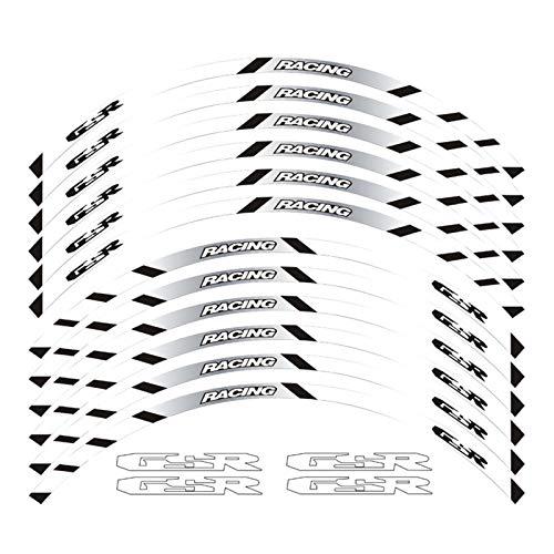Bazutiwns Un Conjunto de calcomanías de Ruedas de Motocicleta de 12 unids Impermeable Reflectante Pegatinas Ramas de llanta para Suzuki GSR HSLL (Color : White)