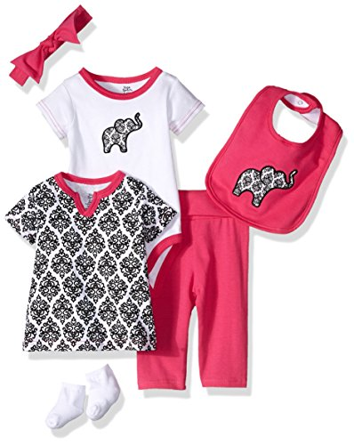 Yoga Sprout Unisex Baby Cotton Layette Set, Damask Collection, 3-6 Months (6M)