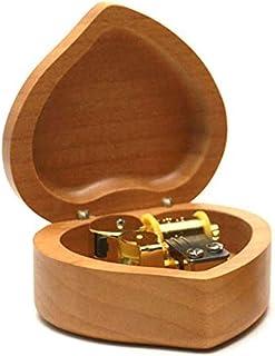 XYZMDJ Mekanisk musiklåda, handgjord trämusiklåda, födelsedagspresent till födelsedagshjärta naturligt samm