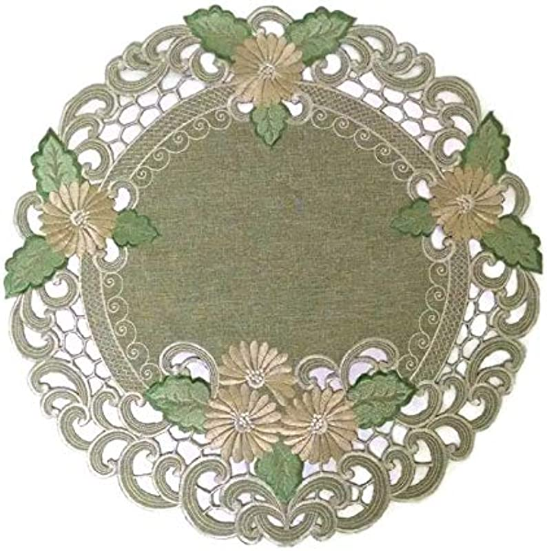 Doily Boutique Round Doily With Gold Daisy On Sage Green Burlap Linen Fabric Size 11 Inches