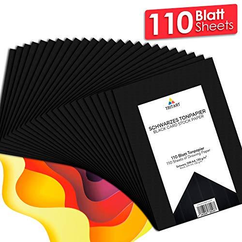 Tonpapier Schwarz A4 130g I 110 Blatt Bastelpapier I Kreativ Zeichenpapier zum Basteln und Malen I Zeichenkarton I DIY Tonzeichenpapier Schwarz