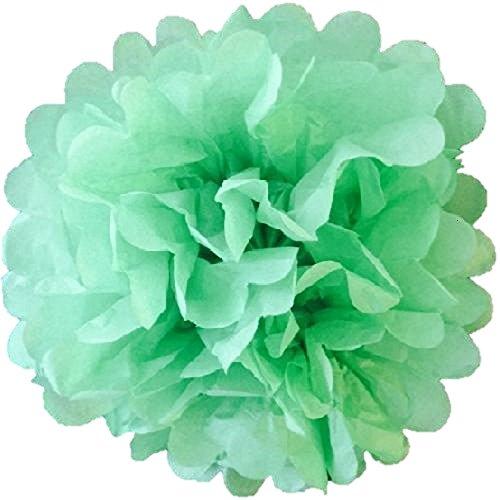 Lot de 10 pompons en papier de soie de 15 cm pour décoration de fête de mariage de plus de 20 couleurs au choix (vert herbe).