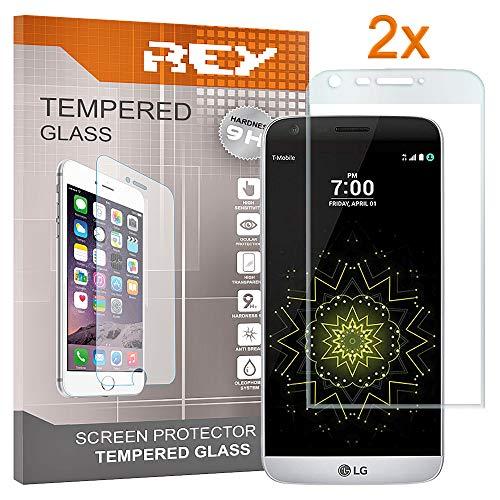 REY Pack 2X Panzerglas Schutzfolie für LG G5, durchsichtig, Displayschutzfolie 9H+, Polycarbonat, Härte, Anti-Kratzen, Anti-Öl, Anti-Bläschen, 3D / 4D / 5D