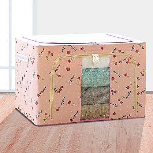 Scatola portaoggetti in tessuto Oxford con telaio in acciaio, pieghevole, 22 l, piccola scatola portaoggetti con finestra trasparente e manico rinforzato per vestiti, biancheria da letto