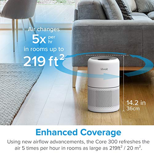 LEVOIT Air Purifier for Home Allergies Pets Hair Smokers in Bedroom, H13 True HEPA Air Purifiers Filter, 24db Quiet Air Cleaner, Remove 99.97% Smoke Dust Mold Pollen for Large Room, Core 300, White