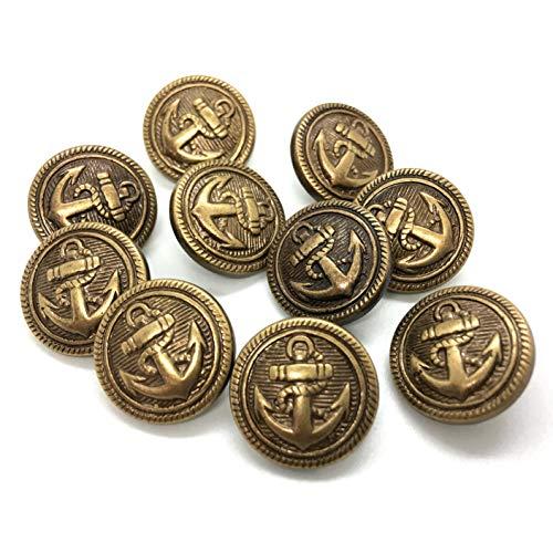 【エデンボタン】イカリ柄 青銅色 ボタン 10個セット(15.1mm)[B-19]
