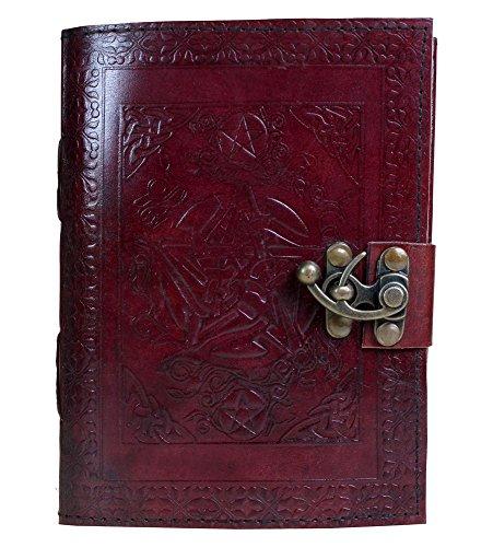 Taccuino di scrittura in pelle rossa con chiusura antica, medievale, occulto, Witch
