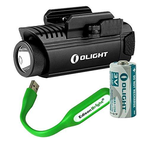 Olight PL1 II Valkyrie 450 lumen LED pistol light with EdisonBright USB reading light bundle