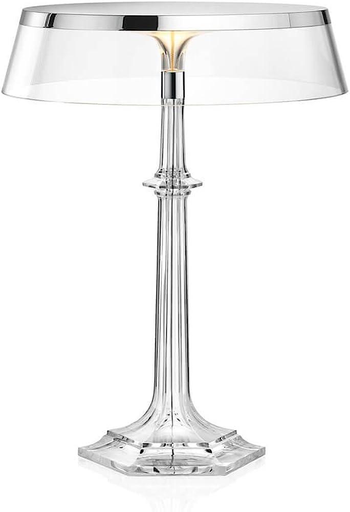 Flos bon jour versailles, lampada da tavolo con struttura cromo e paralume trasparente F1041057-F1033000