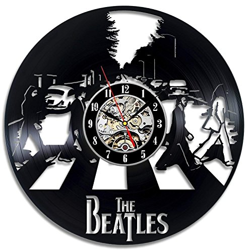 Meet Beauty Ding The Beatles Music Band Theme Disco de Vinilo Creative Wall Clock 30Cm Ronda Negra-Hecho a Mano-Regalo Divertido para niños Navidad y Halloween