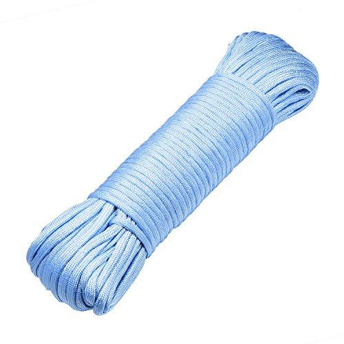 DonDon Corde Paracorde 30 Mètres Ruban de Tissu Lacet de Nylon Bracelet de Survie à Fabriquer et pour Activités de Camping en Extérieur 4 mm – 7 brins Bleu Clair