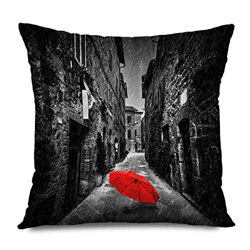 CHARLLR Throw Pillow Cover 18x18 Inch Oil Painting Black White Umbrella On Dark Narrow Street in Tuscany Italy Rainy Winter Red Light Brown Decorative Pillowcase for Sofa Couch Bedroom Living Room
