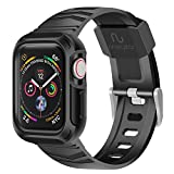 RinoGear Case with Band for Apple Watch 40mm (Series 6 5 4 SE) Rugged Apple Watch Band iWatch Case Strap Active Armor Pro (Black)
