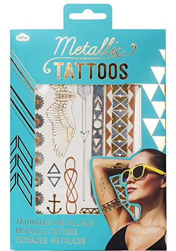 NPW Metallic Jewelry Temporary Tattoos, Gold