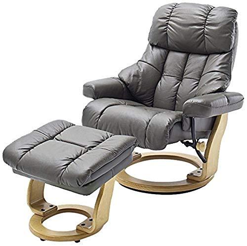 Robas Lund Sessel Leder Relaxsessel TV Sessel mit Hocker bis 130 Kg, Fernsehsessel Echtleder Schlammfarben, Calgary