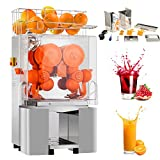 Nurxiovo Commercial Orange Juicer Machine 110V/120V Automatic Citrus Juicer Electric Juice Squeezer Lemonade Making Machine Heavy Duty #304 Stainless Steel with Bins, 25-30 oranges per minute