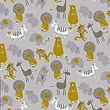 Verhees Soft Sweat Zoo, grau 50x150 cm Meterware
