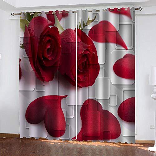 MXYHDZ Cortinas Dormitorio Opacas - Pétalos de Rosa roja Cortinas Salón para Habitación Opacas con Aislamiento Térmico- 234 x 229 cm para Oficina, Dormitorio habitación de los niños, 2 Piezas