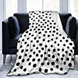 SARA NELL Classic Black and White Polka Dot Blanket,Spots Polka Dots Dotted Dalmation Print Full Blanket,Super Soft Lightweighted Microfiber Fuzzy Flannel Blanket Throw for Bed Couch Sofa,50'X40'