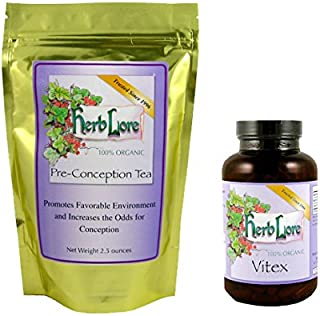 Herb Lore Vitex Chasteberry Capsules (200 Count) and Fertility Tea for Women (60 Servings) - Encourage Reproductive Hormone Balance and Increase Your Chances of Getting Pregnant