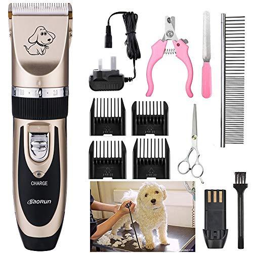 Baorun - Cortacésped de pelo para perros y animales de compañía inalámbrica recargable
