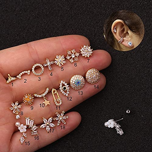 TonyJameJPStore 1Pc Barbell With Cz Cartilage Stud Earring Stainless Steel Copper Flower Star Conch Rook Tragus Helix Piercing Jewelry - Gold - 07