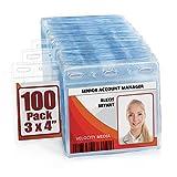 MIFFLIN Plastic Horizontal Card Holder (3x4 Inch, Clear, Bulk 100 Pack) Quick Load No Zipper Name ID Badge