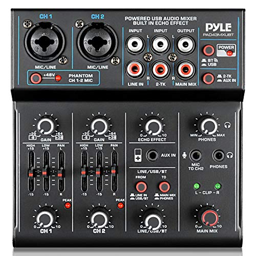 Professional Wireless DJ Audio Mixer - 4-Channel Bluetooth DJ Controller Sound Mixer - USB Audio Interface, 2 Combo Jack XLR+6.35mm Mic/Line/Guitar In, 3.5mm, RCA AUX, Headphone Jack - Pyle PAD43MXUBT. Buy it now for 69.65
