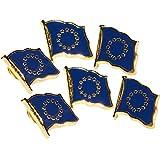 MC-Trend® 6er Set Pin aus Metall Europa Fahne Flagge Flag Europe europäische Union Flag EU Anstecker (Europa Pin 6 Stück)