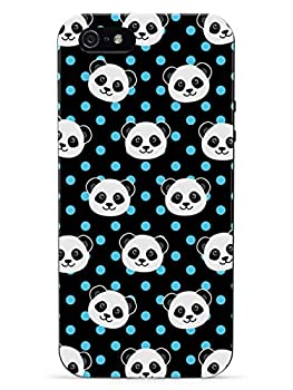 Inspired Cases - 3D Textured iPhone 5c Case - Rubber Bumper Cover - Protective Phone Case for Apple iPhone 5c - Cute Panda Pattern - Blue Polka Dots - Black