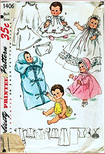 Layette for Betsy Wetsy and Tiny Tears Dolls, Simplicity 1406. -  Simplicity Pattern Co Inc, New York.