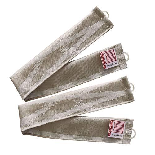 SeGaTeX home fashion 1 Paar Raffhalter Raffband für Wohnmobil Caravan-Vorhang NAUTIS beige Verdunklungsdeko Wohnwagengardine