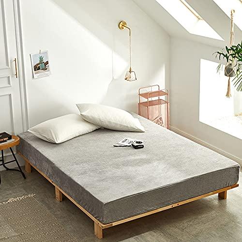 HAIBA Sábana bajera ajustable lisa térmica cálida suave cama de lujo cuatro esquinas con cinturón elástico funda de colchón, plata, 48 cm x 74 cm
