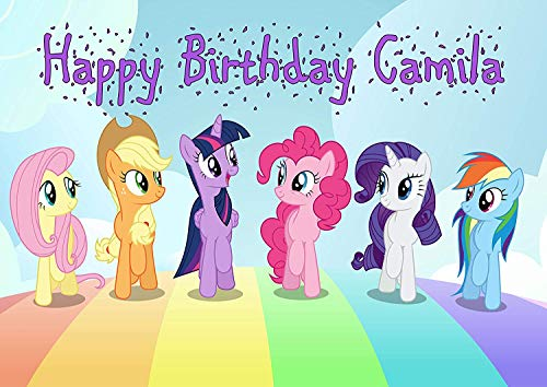 Cakecery My Little Pony Edible Cake Image Topper Personalized Birthday Cake Banner 1/4 Sheet