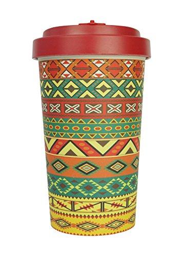 Taza de café reutilizable hecha de fibra de bambú natural orgánica, respetuosa con el medio ambiente, taza de viaje biodegradable (naranja azteca, 500 ml)