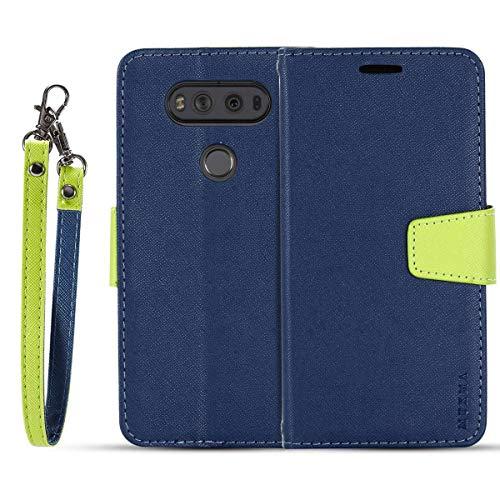 JEEXIA® Schutzhülle Für LG V20, Retro PU Lederhülle Flip Cover Brieftasche Innenschlitzen Mit Stand Doppelte Farbe Ledertasche - Blau