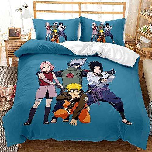 FAIEK Juego de Ropa de Cama Anime para niños,Naruto Azul,Funda nórdica Funda de Almohada, Japón Anime Naruto 180X200CM